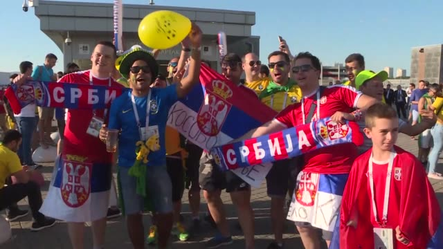 fans arrive at spartak stadium prior to the 2018 fifa world cup russia group e match between serbia and brazil on june 27 2018 in moscow russia - fifa world cup stock videos & royalty-free footage