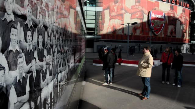 Fans arriving at The Emirates Stadium home to Arsenal Football Club in north London February 7 2013 General View Of Arsenal's Emirates Stadium on...