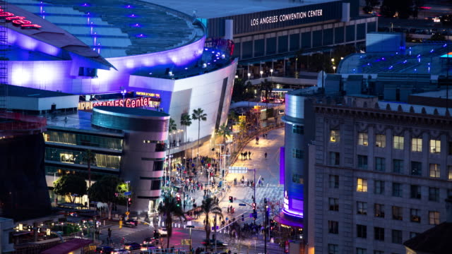 fans arriving at the staples center, downtown los angeles - time lapse - staples center video stock e b–roll