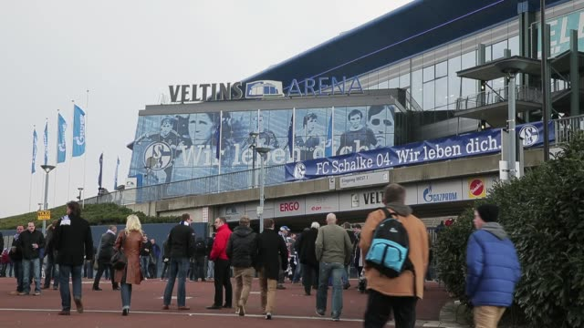 fans arriving to the velltins-arena prior to the bundesliga match between fc schalke 04 and tsg 1899 hoffenheim at veltins-arena on march 30, 2013 in... - 1899 stock videos & royalty-free footage