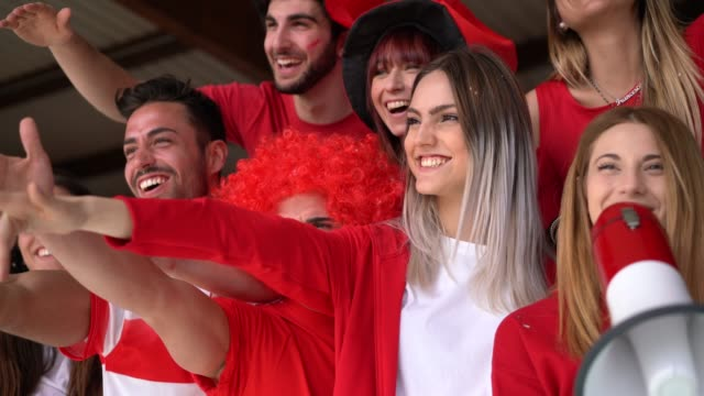 fans at stadium together - international soccer event stock videos & royalty-free footage