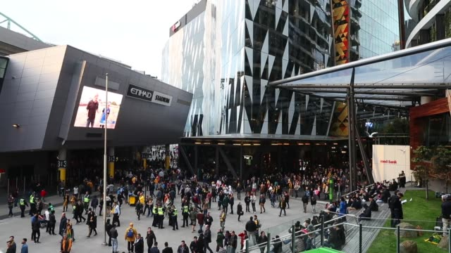 fans at the 2018 fifa world cup qualifier match between the australian socceroos and japan at etihad stadium on october 11, 2016 in melbourne,... - australian national team stock videos & royalty-free footage
