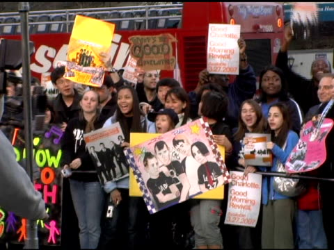 fans at the good charlotte cbs early show at the good charlotte live appearance on the cbs early show celebrating the release of their 4th album... - album release stock videos and b-roll footage