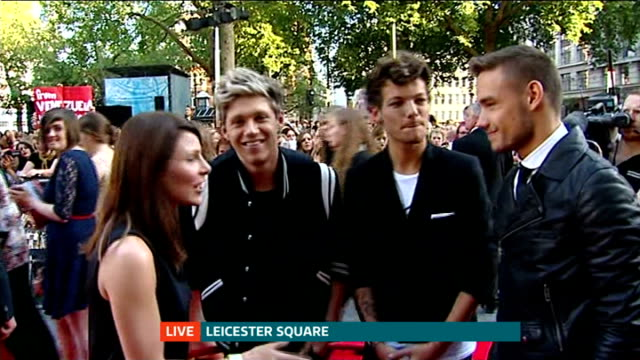 Fans camp out for premiere of One Direction film 'This is Us' Liam Payne Louis Tomlinson and Niall Horan LIVE red carpet interview SOT