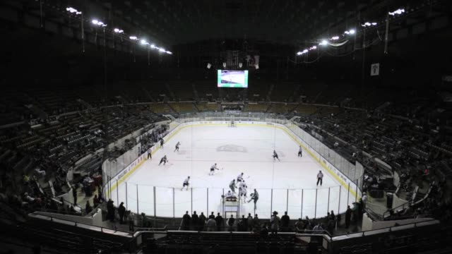 fans cheer on the denver cutthroats minor league professional ice hockey during a home game at denver coliseum denver cutthroats professional hockey... - pista di pattinaggio su ghiaccio video stock e b–roll