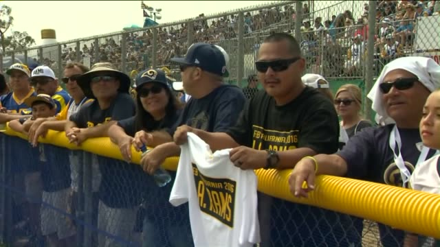 KTLA Fans Cheer On The St Louis Rams During Practice in Oxnard on August 17 2015