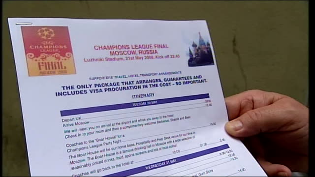 Fans face struggle to get visas for Champions League final in Moscow EXT Setup shot of reporter with Barry Martin Close Shot of document showing...