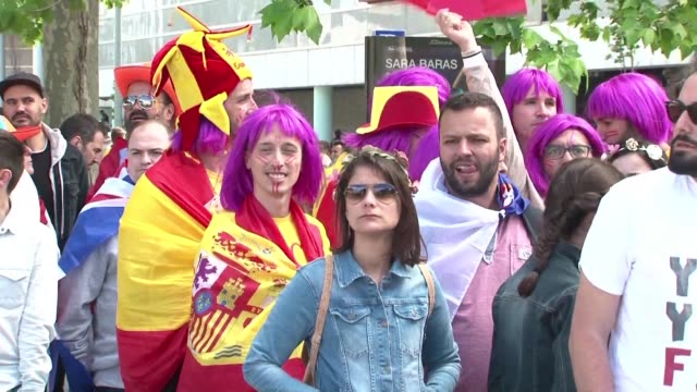 fans from all over the world wait in front of the altice arena in the portuguese capital ready to take part in the eagerly awaited eurovision 2018... - eurovision song contest stock videos & royalty-free footage