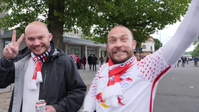Fans from RB Leipzig on the way to the stadium ahead of the DFB Cup Final 2019 between RB Leipzig and Bayern Muenchen at Olympiastadion on May 25...