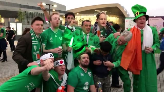 fans gather outside the stadium ahead of the rugby world cup quarterfinal clash between ireland and new zealand despite coming into the tournament as... - new zealand stock videos & royalty-free footage