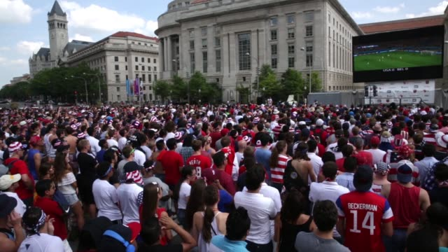 S fans gather to watch the World Cup United States vs Belgium match during a viewing party at the Freedom Plaza Washington DC July 1 2014