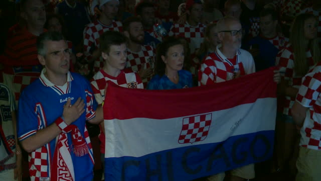 wgn fans gathered at the croatian cultural centerchicago to watch croatia playand eventually lose tofrance in the 2018 fifa world cup on july 15 2018 - fifa world cup 2018 stock videos & royalty-free footage