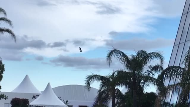 stockvideo's en b-roll-footage met fans gathering to catch a glimpse of their favourite stars on the cannes red carpet got a surprise from above: zapata ceo franky zapata could be seen... - clean