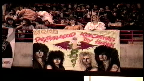 fans holding up hand made motley crue banners before concert - 1990 stock videos & royalty-free footage