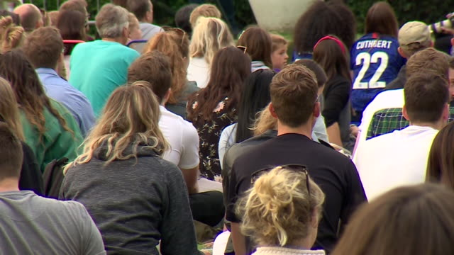 fans in battersea park watching the women's world cup semifinal between england and the usa - battersea stock videos & royalty-free footage
