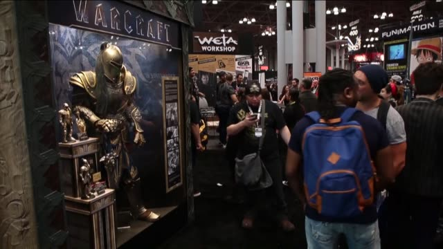 Fans in costumes attend the New York ComicCon 2015 at the Jacob K Javits Convention Center in New York NY on October 08 2015 The annual event offers...