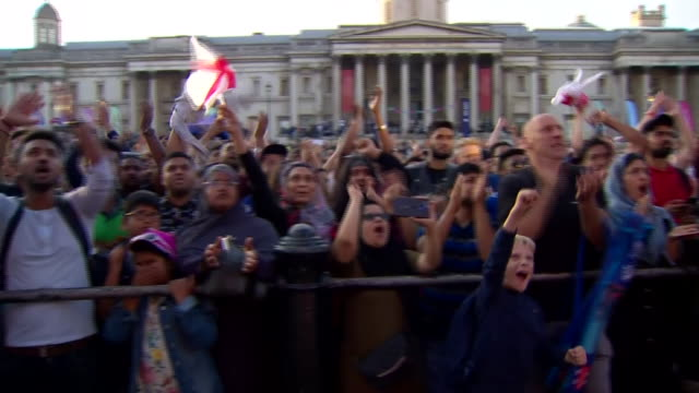 fans in trafalgar square celebrating after england win the cricket world cup - cricket stock videos & royalty-free footage