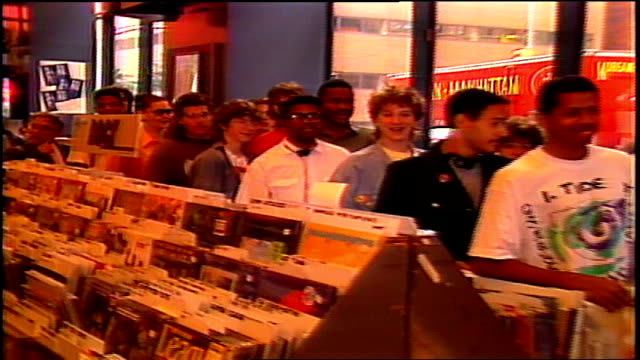 fans lined up in tower records for autographs from living colour in nyc - tower records stock videos & royalty-free footage