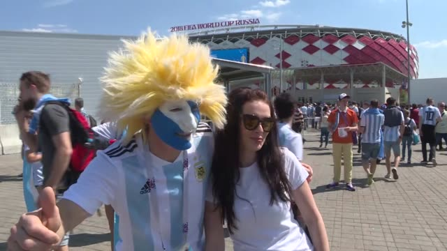 Fans make their way to the stadium prior to the 2018 FIFA World Cup Russia group D match between Argentina and Iceland at Spartak Stadium on June 16...