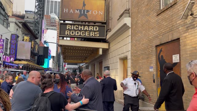 fans, media and cast members gather outside of hamilton as it prepares to re-open for the first time since closing for the pandemic on september 14,... - broadway manhattan stock videos & royalty-free footage