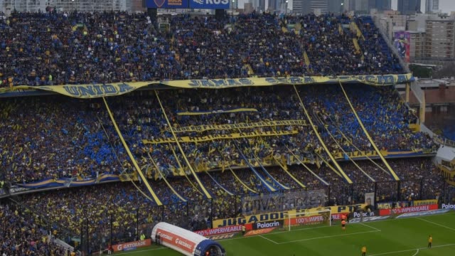 Fans of Boca Junior Fans cheer for their team befora a match against River Plate as part of Superliga Argentina 2016/2017 at stadium Alberto J...