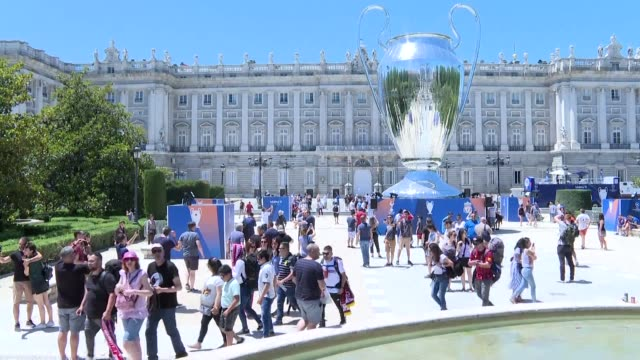 fans of both teams are confident of a win in the champions league final in madrid as tottenham take on liverpool in the biggest club game of the year - final round stock videos & royalty-free footage