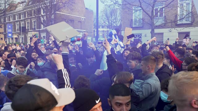 fans of chelsea football club protest against the european super league outside stamford bridge on april 20, 2021 in london, england. six english... - super slow motion stock videos & royalty-free footage