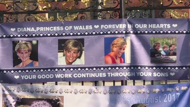 fans of diana princess of wales place tributes and flowers at kensington palace on the 20th anniversary of her death as the nation looks back on the... - 20th anniversary stock videos & royalty-free footage