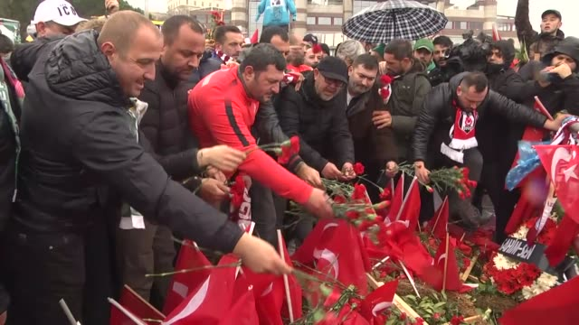 fans of different turkish football clubs politicial party members and firefighters pay tribute to the victims of the twin attacks at the site of the... - besiktas stock videos and b-roll footage
