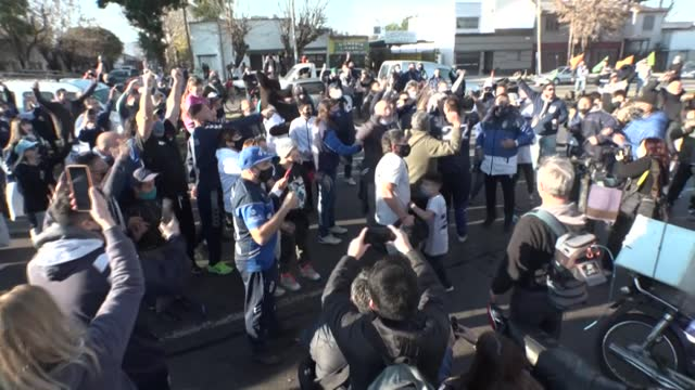 fans of football legend diego maradona gather in la plata, argentina, to celebrate the 35th anniversary of his most famous goal scored during the... - buenos aires stock videos & royalty-free footage