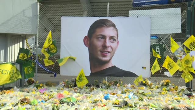 fans of france's fc nantes football club gather outside the team's stadium to pay homage to footballer emiliano sala who died in a plane accident... - nantes stock videos & royalty-free footage