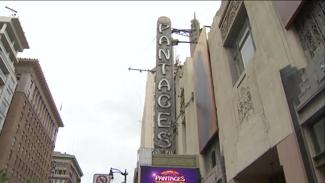 fans of 'hamilton' line up outside the pantages theatre. - pantages theater stock videos & royalty-free footage