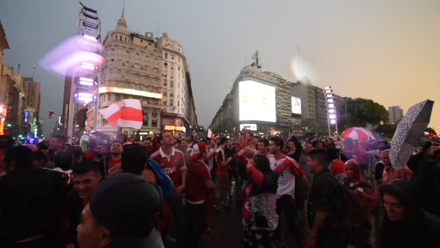 fans of river plate celebrate after winning the second leg of the final match of copa conmebol libertadores 2018 between river plate and boca juniors... - argentina stock videos & royalty-free footage