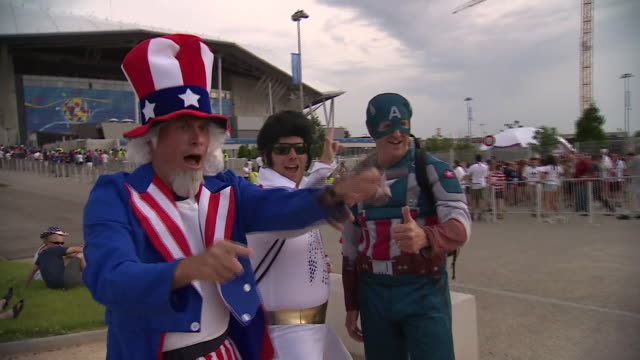 fans of the usa before the start of the women's world cup semifinal with england - championships stock videos and b-roll footage