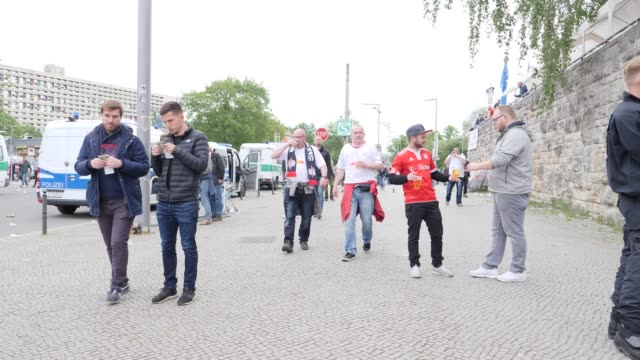Fans on the way to the stadium ahead of the DFB Cup Final 2019 between RB Leipzig and Bayern Muenchen at Olympiastadion on May 25 2019 in Berlin...