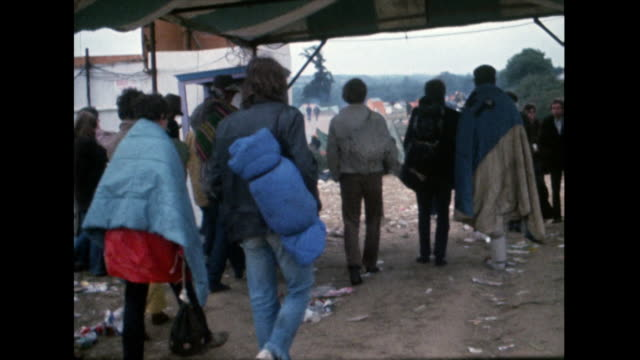 fans pack up and leave after isle of wight festival; 1969 - 1969 stock videos & royalty-free footage