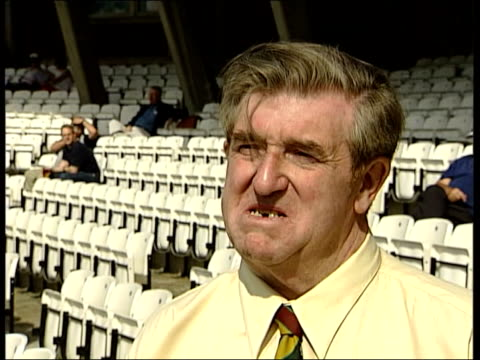; fans queueing track forward two cricket 'tolerators' cricket 'tolerators' sitting down in cricket stadium peter burne interviewed about twenty20... - lager stock videos & royalty-free footage