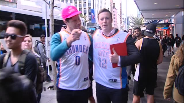 Fans queuing outside Foot Locker retail store in 2014 waiting to meet Steven Adams at publicity event