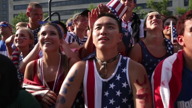 S fans react as they watch the World Cup United States vs Belgium match during a viewing party at the Freedom Plaza Washington DC July 1 2014