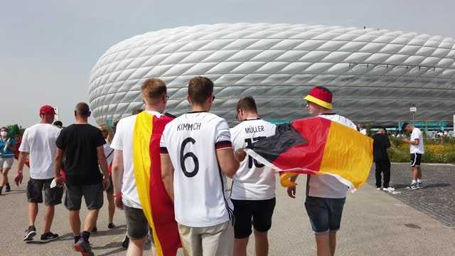 stockvideo's en b-roll-footage met fans seen outside the stadium prior to the uefa euro 2020 championship group f match between portugal and germany at football arena munich on june... - match sport