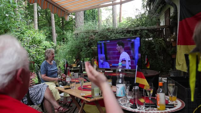 fans sitting in a private garden in district berlin-zehlendorf reacting on the uefa euro 2020 match between portugal v germany on june 19, 2021 in... - senior women stock videos & royalty-free footage