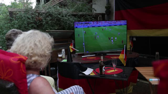 fans sitting in a private garden in district berlin-zehlendorf reacting on the uefa euro 2020 match between portugal v germany on june 19, 2021 in... - senior men stock videos & royalty-free footage