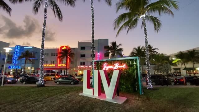 fans visit the fox sports south beach studio compound on january 28 2020 in miami usa the super bowl xliv will take place in the hard rock stadium in... - super bowl stock videos & royalty-free footage