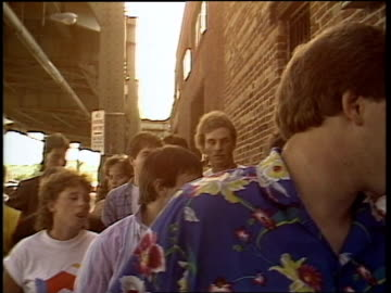 fans waiting in line for a foreigner show at the bayou club in washington dc, 1985. - mtv stock videos & royalty-free footage