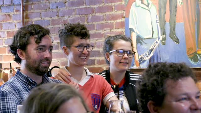 fans watc the celebrhation on tv after the united states women's national soccer team wins its fourth world cup on sunday after a 20 victory game... - united states national team stock videos & royalty-free footage