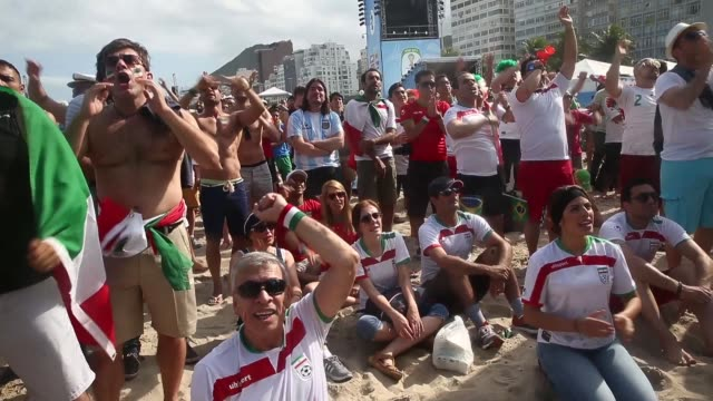 WS Fans watch Argentina beat Iran 10 in World Cup play on the large screen setup at FIFA World Cup Fan Fest on Copacabana Beach on the 21st of June...
