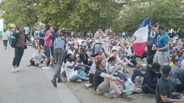 fans watch france v germany - uefa euro 2020: group f at potters field on june 15, 2021 in london, england. - geographical locations stock videos & royalty-free footage