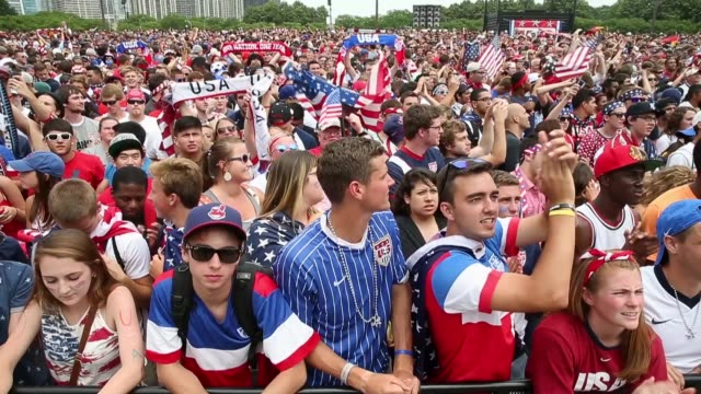 PAN Fans watch USA play Germany in a World Cup soccer match at a viewing event in Grant Park on June 26 2014 in Chicago Illinois Organizers expected...