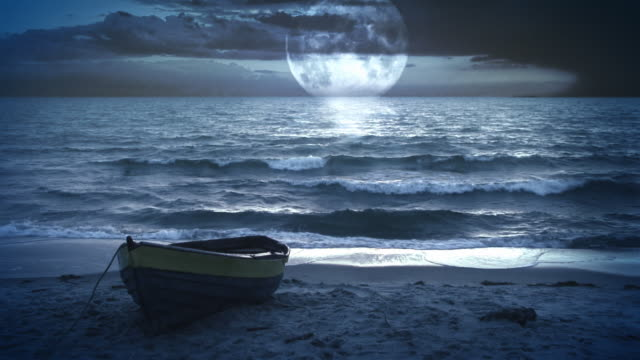 Fantastic landscape video background. Moonlight at the sea / ocean