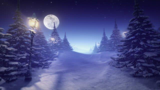 Fantastic winter landscape blue tinted center space for content